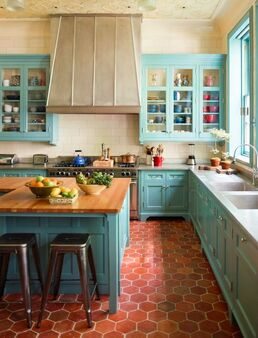Teal & Coral Kitchen